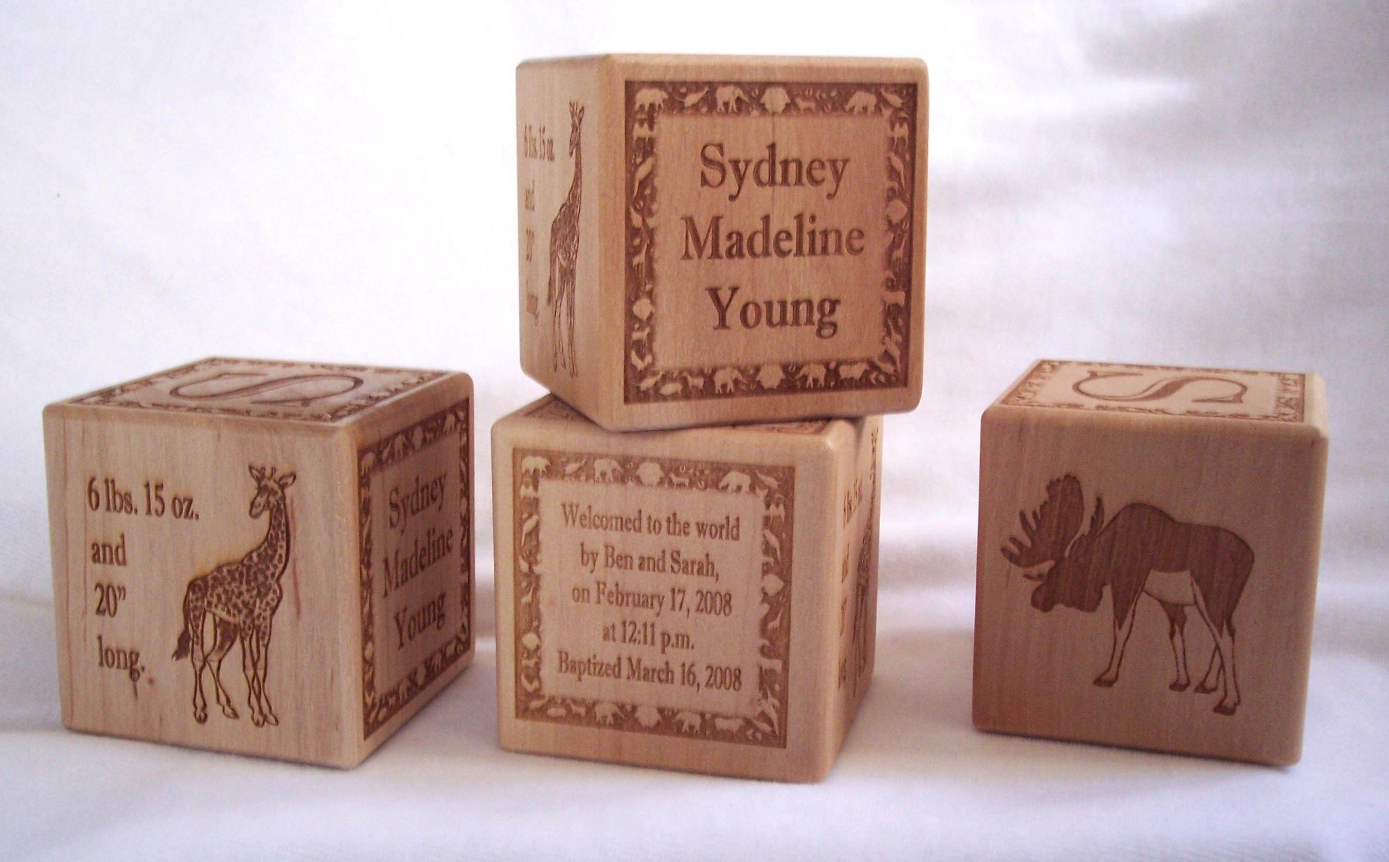 Engraving Samples, Engraved Wooden Frames, Wooden Baby Blocks