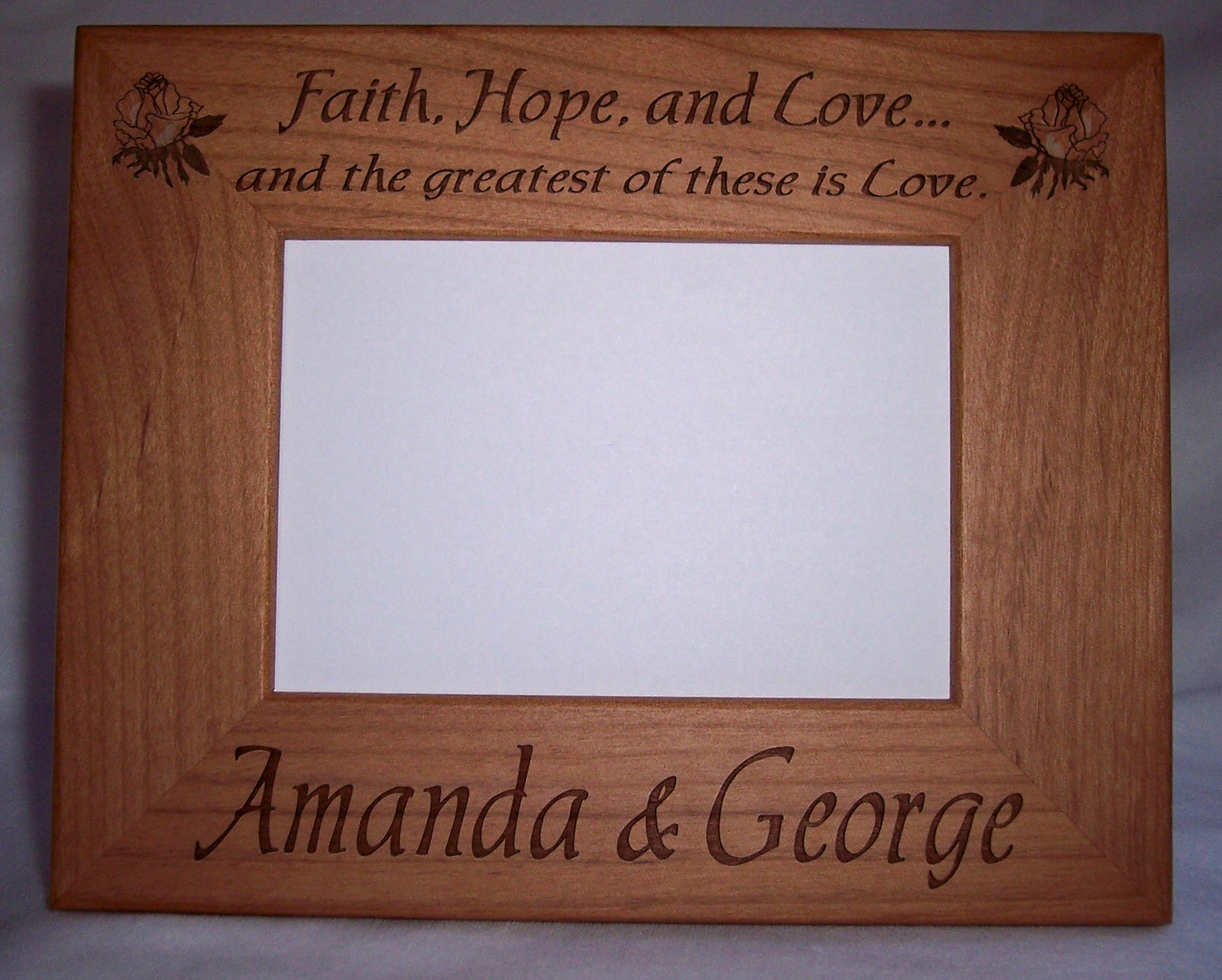 straight edge and rounded edge frames all alder and walnut frames come with glass and have - Engraved Picture Frame